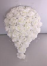 Artificiales Boda Flor Marfil Espuma Rose Novia Cristal de boda en forma de lágrima Bouquet