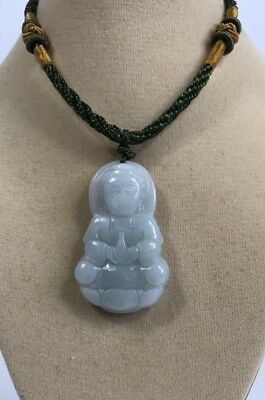 "Handcrafted knot work cord adjustable jade ""Kuan Yin"" buddha pendant/necklace"