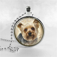 Yorkshire Terrier Pendant Necklace, Yorkie Dog Breed Handmade Art Glass Jewelry
