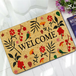 welcome doormat outdoor entrance carpet rubber non slip rug indoor floor mat ebay. Black Bedroom Furniture Sets. Home Design Ideas
