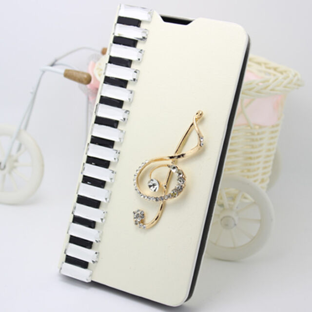 Handmade Diamonds piano notes PU leather wallet flip slot stand Case Skin Cover