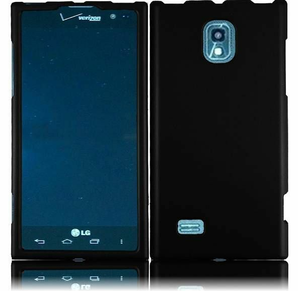 For LG Spectrum 2 VS930 Rubberized HARD Protector Case Snap On Phone Cover Black