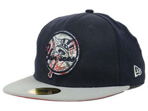 9b37b3a4 Details about New York Yankees MLB New Era Strokes 59Fifty Fitted Flat Bill  Hat Cap Lid NY
