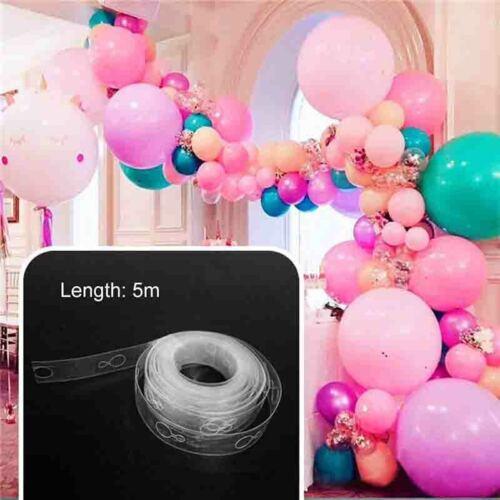 5m Luftballon Kette Klebeband Doppel Löcher Bogen Connect Streifen für Party Set