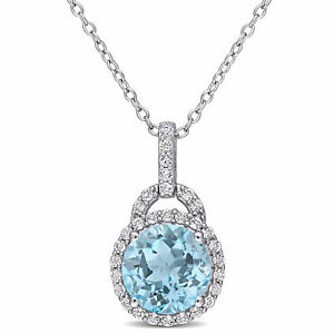 Amour Sterling Silver Blue and White Topaz Halo Circular Necklace