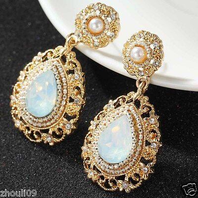 New Lady Woman Elegant clear crystal Rhinestone long Ear Studs hoop earrings 768