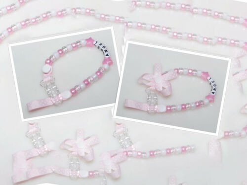 Personalised Dummy Clip in Baby Pink by Polka Dot Ribbon With Bow Without Bow