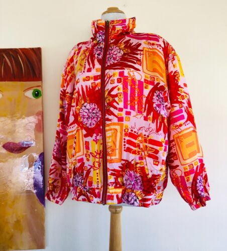 NWT EVR 90s 80s 100% SILK BOMBER Art-to-Wear ZIP J