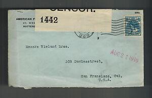 1916 Niederlande Gewerblicher Zensiert Abdeckung zu USA San Francisco