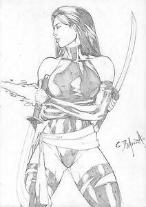 Psylocke-Original-Pin-Up-Art-by-Ed-Moura-Size-9x12-Hot-Marvel