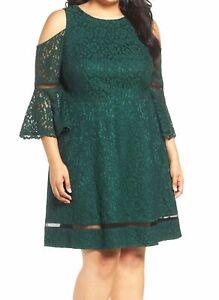 Eliza-J-Womens-18W-Plus-Size-Green-Lace-A-Cold-Shoulder-Line-Dress-MSRP-178