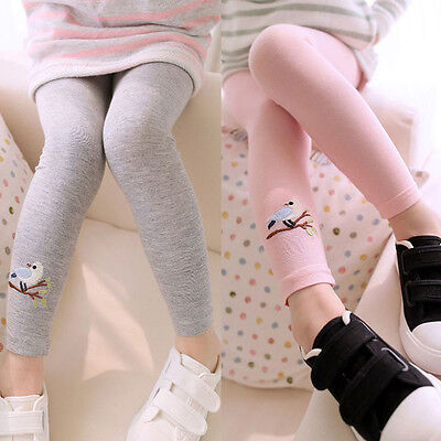 Baby Kid Girl Cotton Tight Pants Embroidery Bird Warm Stretchy Leggings Trousers