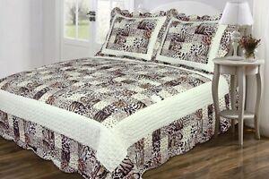 3PC Zebra Animal Print Coverlet Bedspread  Microfiber Cali King / King Size