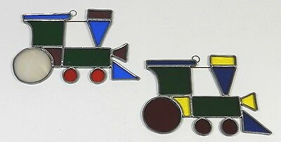 Stained Glass Sun Catcher Christmas Trains Vintage Pair