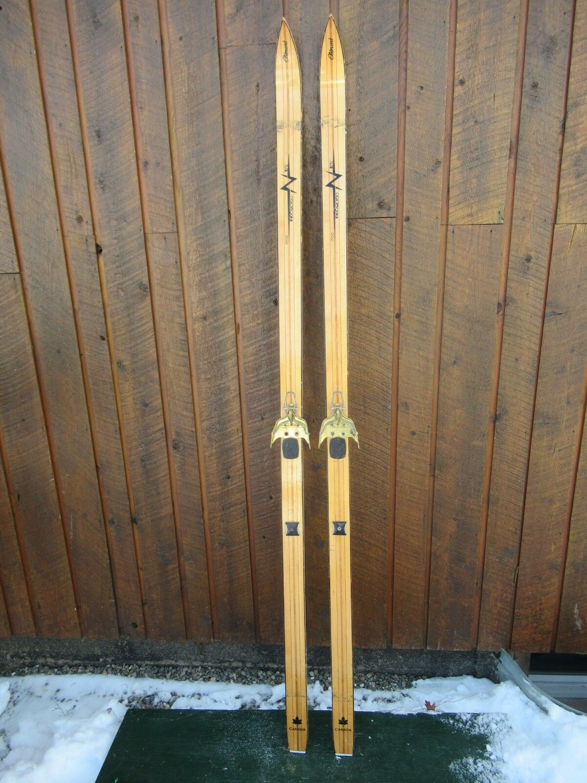 INTERESTING OLD Skis 73   Long BLOND Finish Signed CLEMENT with Metal Bindings