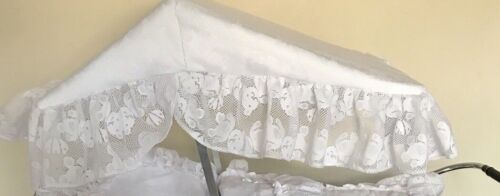 Pram Canopy to fit Silver Cross prams in white Teddy Lace Design
