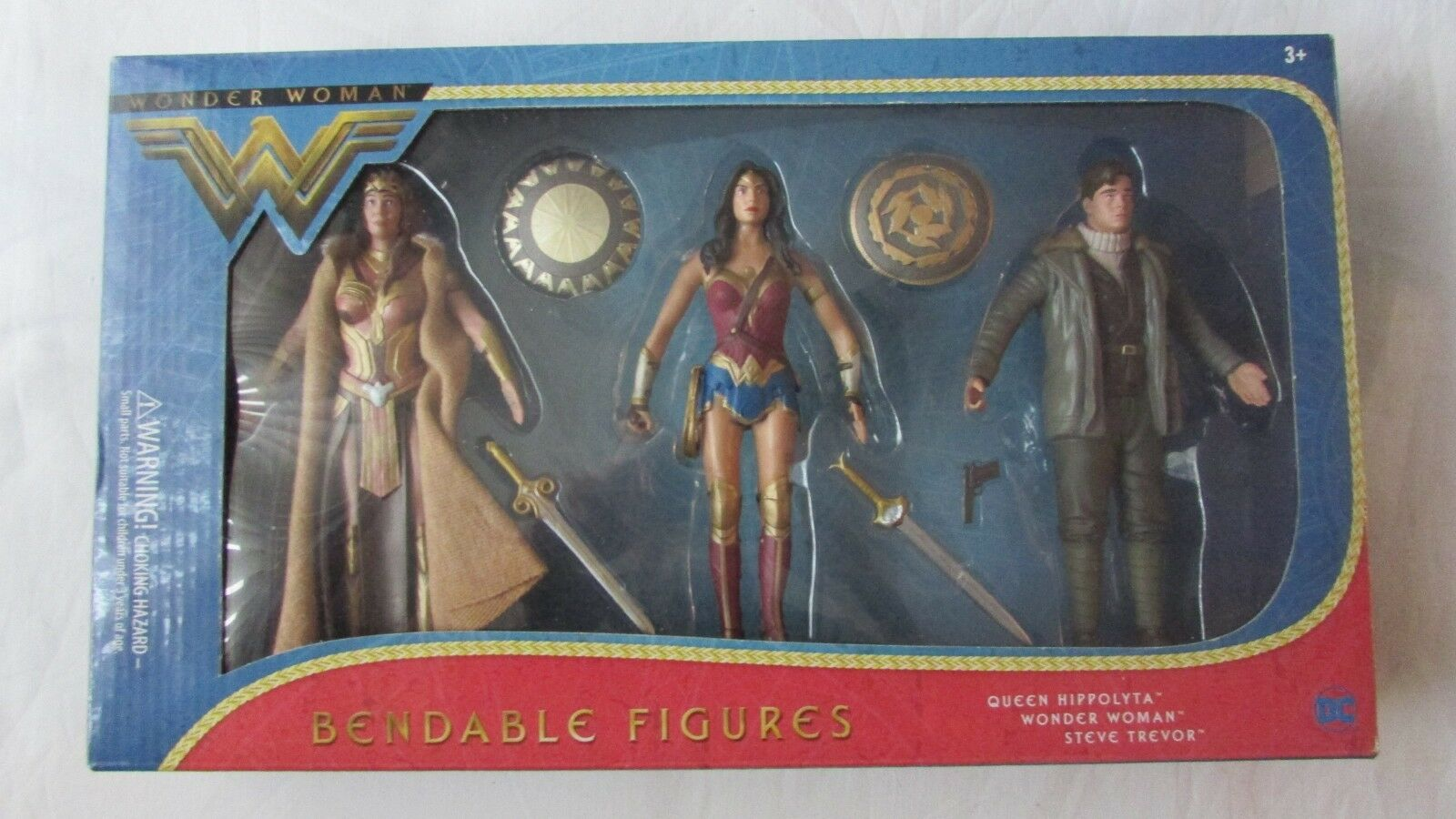 Mujer Maravilla Reina Hippolyta Steve Trevor Flexible 3 figura paquete DC3968 Freepost