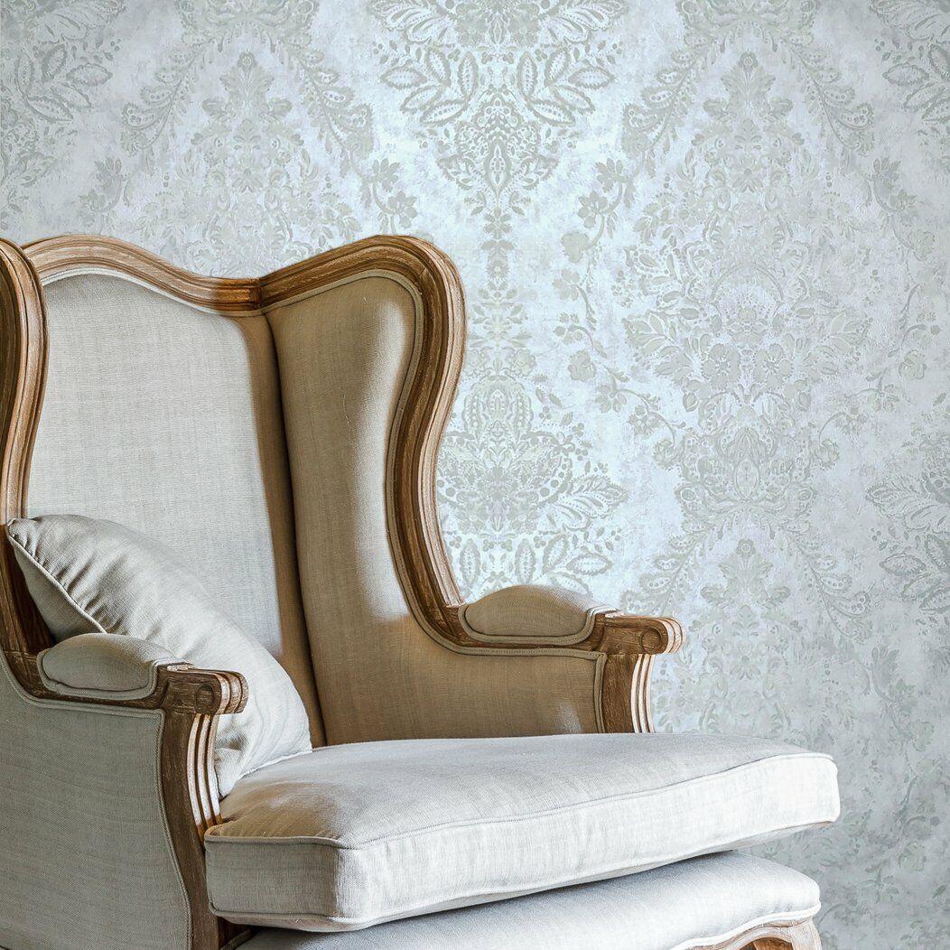 Wallpaper off White Satin Cream Concrete Textured faux plaster vintage damask 3D
