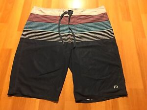 1add6f6392 Travis Mathew Mens Board Shorts Swim Trunks Striped Designs Surfing ...