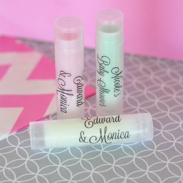 32 Personalized Clear Label Lip Balm Tubes Bridal Shower Wedding Favors
