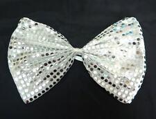 Silver Clown Joker Jumbo Large Big Glitter Sparkly Costume Fancy Dress Bow Tie