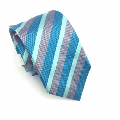 $105 Alfani Mens Blue Gray Suit Stripe Classic Neck Tie Silk Skinny Necktie 60x3