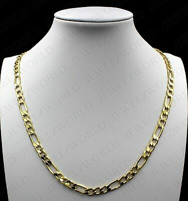 Men Women 5.5mm Stainless Steel Necklaces Figaro Link Chain Free Gift Box