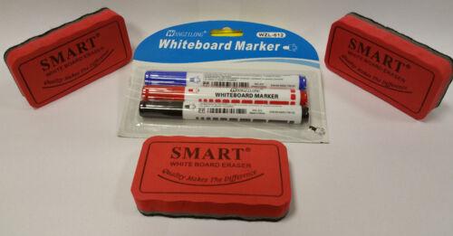 3x Stift  für Weißwandtafel Eraser Löscher 3x Whiteboard magnetisch Schwamm