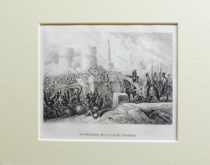 1863-SITIO-DE-GRANADA-ESPANA-Grabado-con-passepartout-doble