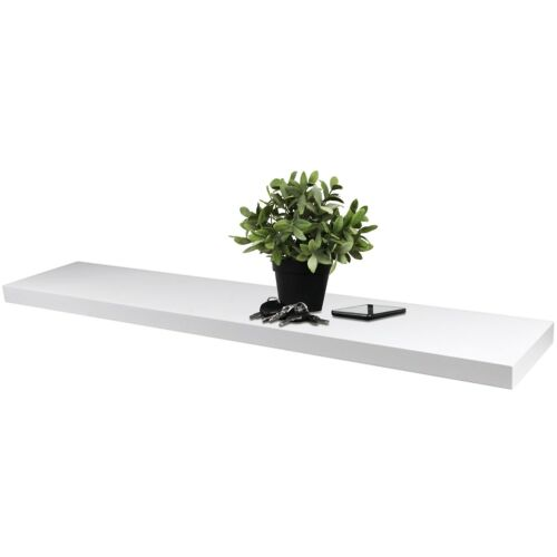 Wandregal 120x23,5cm Wandboard Wandablage Hängeregal Holzregal schwebend Weiß