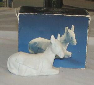 Avon Nativity White Bisque Donkey in Box