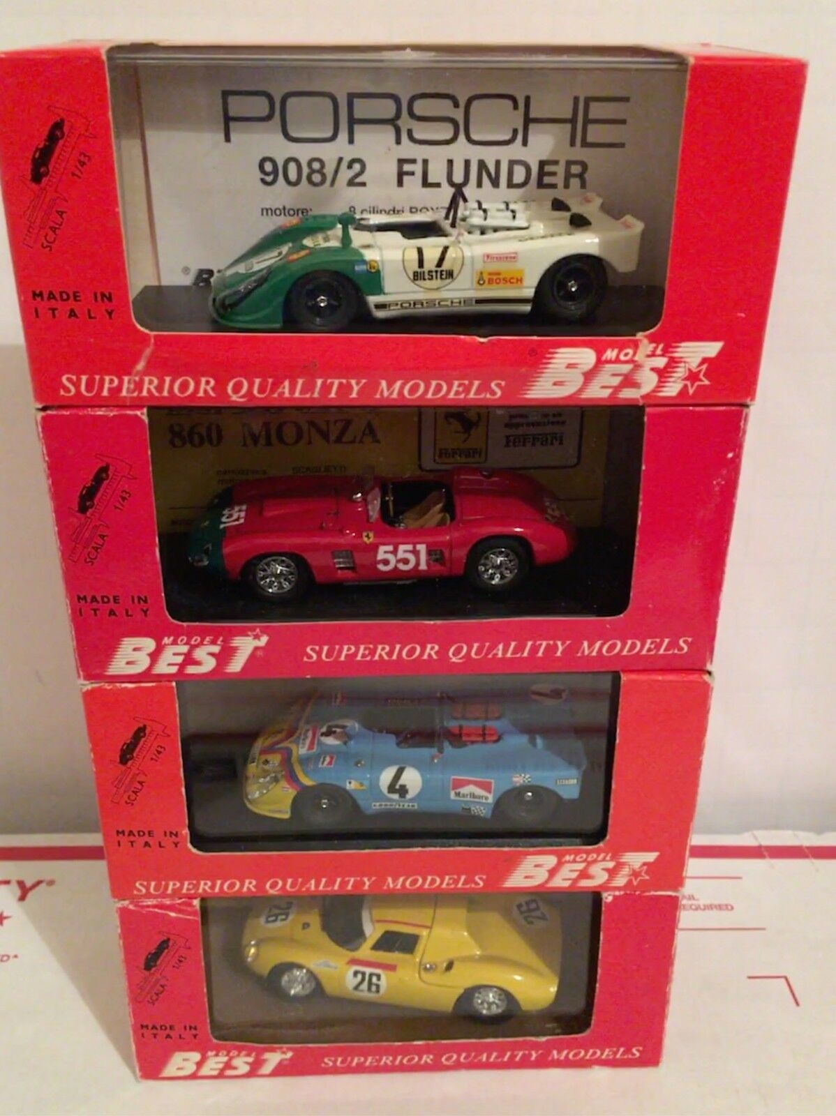BEST Model 1 43 Diecast Metal 4 Race Car Lot-FERRARI 250 860,PORSCHE 908 908 2