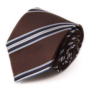 New $230 ISAIA NAPOLI 7-Fold Chocolate Brown and Navy Ribbon Stripe Silk Tie
