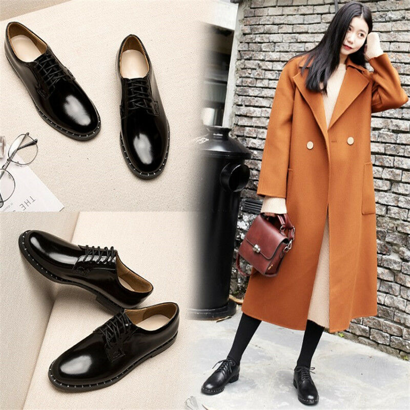 Women Block Low Heel Casual Lace Up Genuine Brogues shoes Fashion Black Oxfords