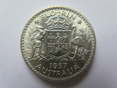 very Nice 1957 2//- Silver TWO Shilling Florin Q Elizabeth II TWO BOB