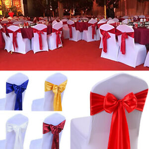 100x Wholesale Satin Sash Chair Cover Bow Wedding Banquet Party Trade Show Decor Ebay