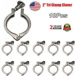 2-034-Tri-Clamp-Clover-Sanitary-Fits-64MM-OD-Ferrule-10Pack-Stainless-Steel-304-US