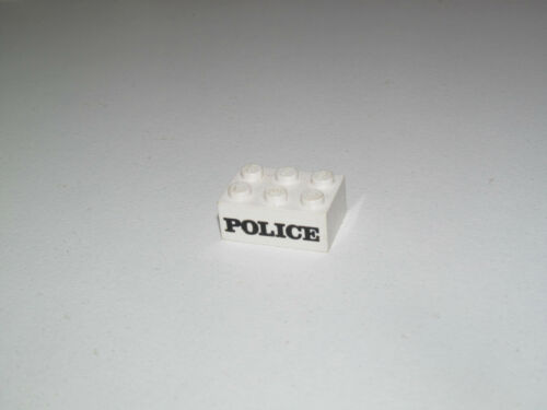 Lego ® Brique Blanche 2x3 Sérigraphiée Police Vintage Brick Printed Ref 3002
