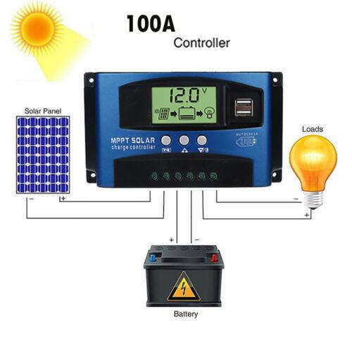 Details about  /100A MPPT Solar Panel Regulator Charge Controller 12V//24V Auto Focus Tracking