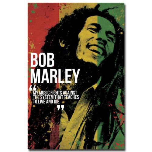 Art BOB MARLEY Poster 20x30 24x36 Art Silk Reggae Godfather Motivational P700