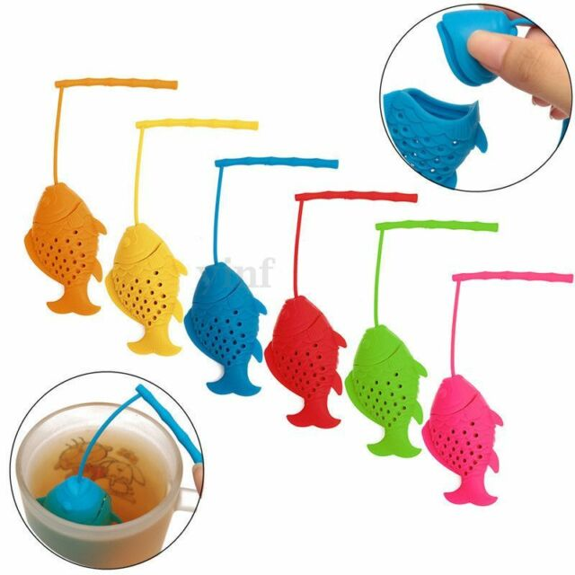 New Silicone Fish Tea Loose Leaf Infuser Spice Herbal Strainer Filter Diffuser