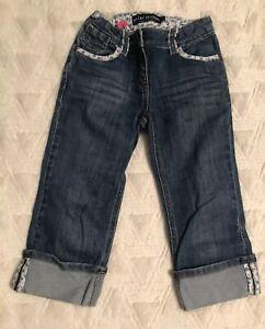 Mini-Boden-Girls-Flower-Cropped-Capri-Roll-Ankle-Light-Wash-Blue-Jeans-Pant-Sz-7