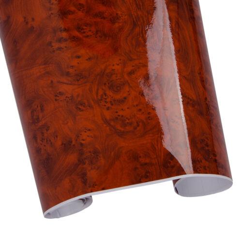 Glossy Wood Grain Vinyl Car Interior Decal Car Wrap Film Furniture Door Sticker