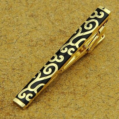 LJ-205 Stainless Steel Gold Toned Tie Clasp Clip Bar + Gift Box FREE SHIPPING