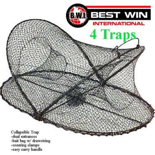"4 Lobster//Crab//Crawdad//Shrimp Trap-33/""Lx20/""Wx12/""H,Collapsible Folding Bait Bag"
