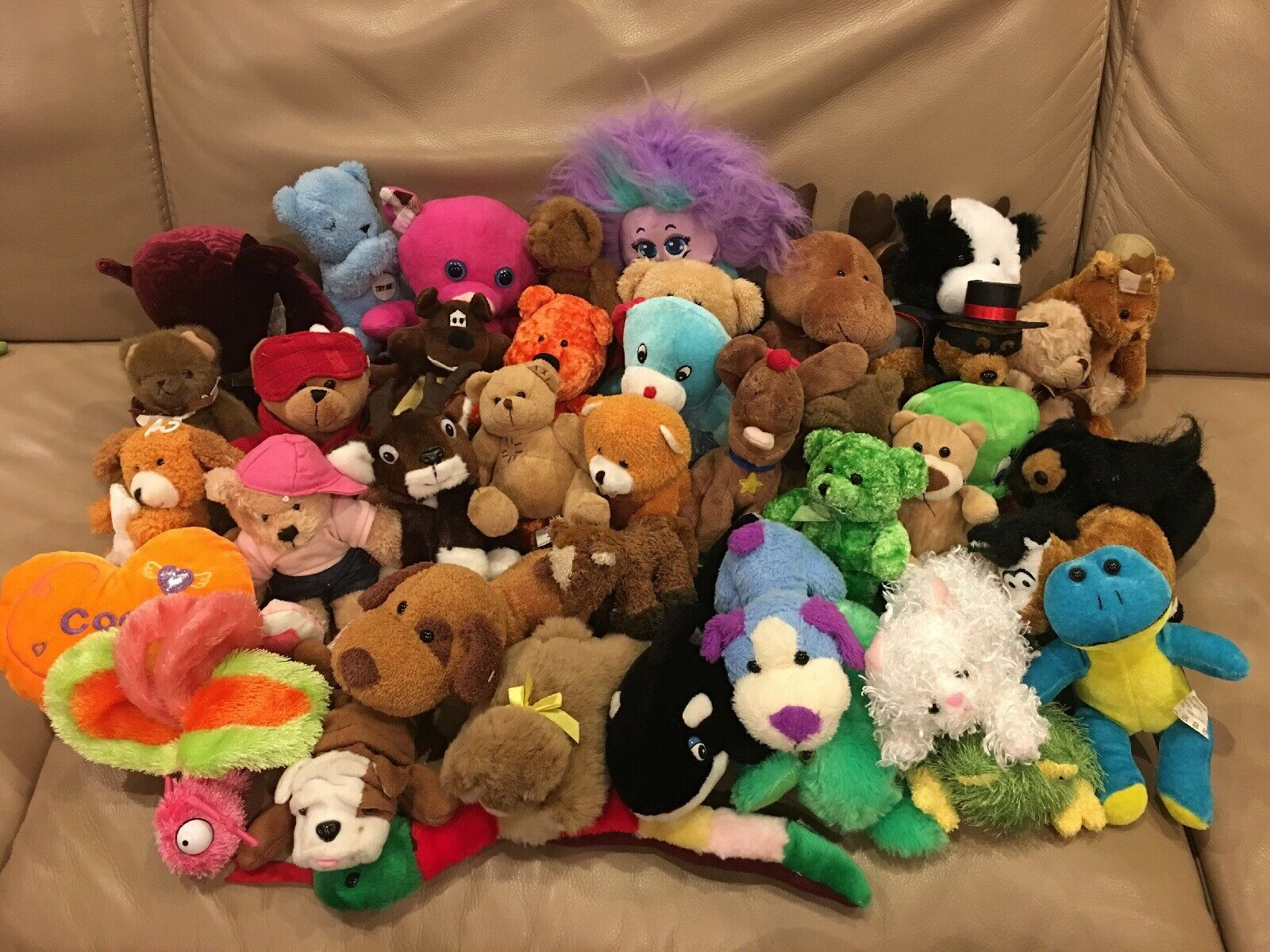 Lot 41 Plush Toys Bear Dog Frog Horse Moose Cat Snake Whale Butterfly Pig