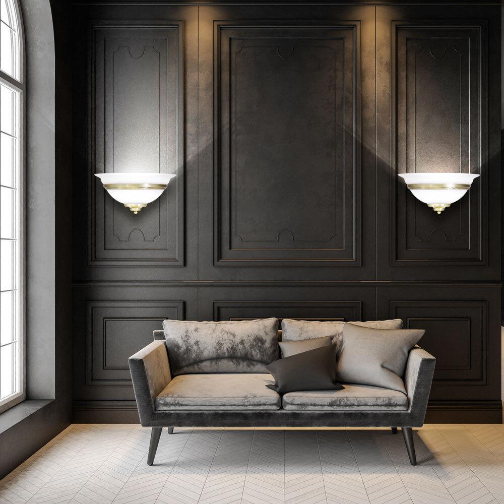 2er Set Luci Parete Illuminazione Altmessing vetro bianco stile Landhaus tromba delle scale