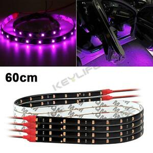 4x car vehicle interior 12v pink purple 3528 smd 30led flexible strip light 60cm. Black Bedroom Furniture Sets. Home Design Ideas