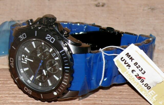 MICHAEL KORS MK8233 Herren Armbanduhr Chronograph Uhr Massiv Schwarz Jeans Blau