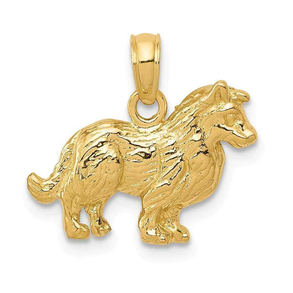 14K Yellow gold Collie Dog Pendant
